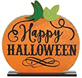 Spookville ~ Happy Halloween Tabletop Pumpkin Decoration - 12 inches with Wood Base