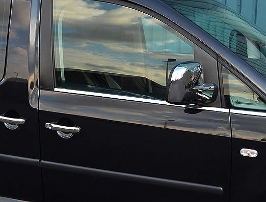 Caddy - Marco de acero inoxidable cromado para ventanas delanteras, 2 puertas, 4 piezas: Amazon.es: Coche y moto