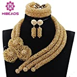 Gold Beads Statement Women Jewelry Necklace Set Dubai Gold African Nigerian Beads Jewelry Set for Wedding