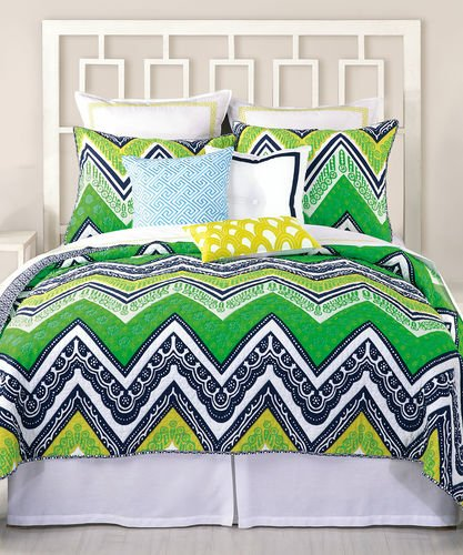 Trina Turk Tangier Stripe Sham, Green/Blue, Standard