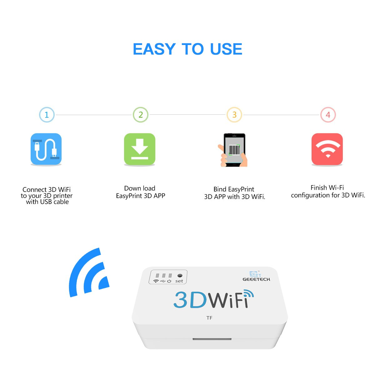 Geeetech 3D WiFi Module for 3D Printer, Easy to Use, Wireless Control 3D  Printer with Easyprint 3D App