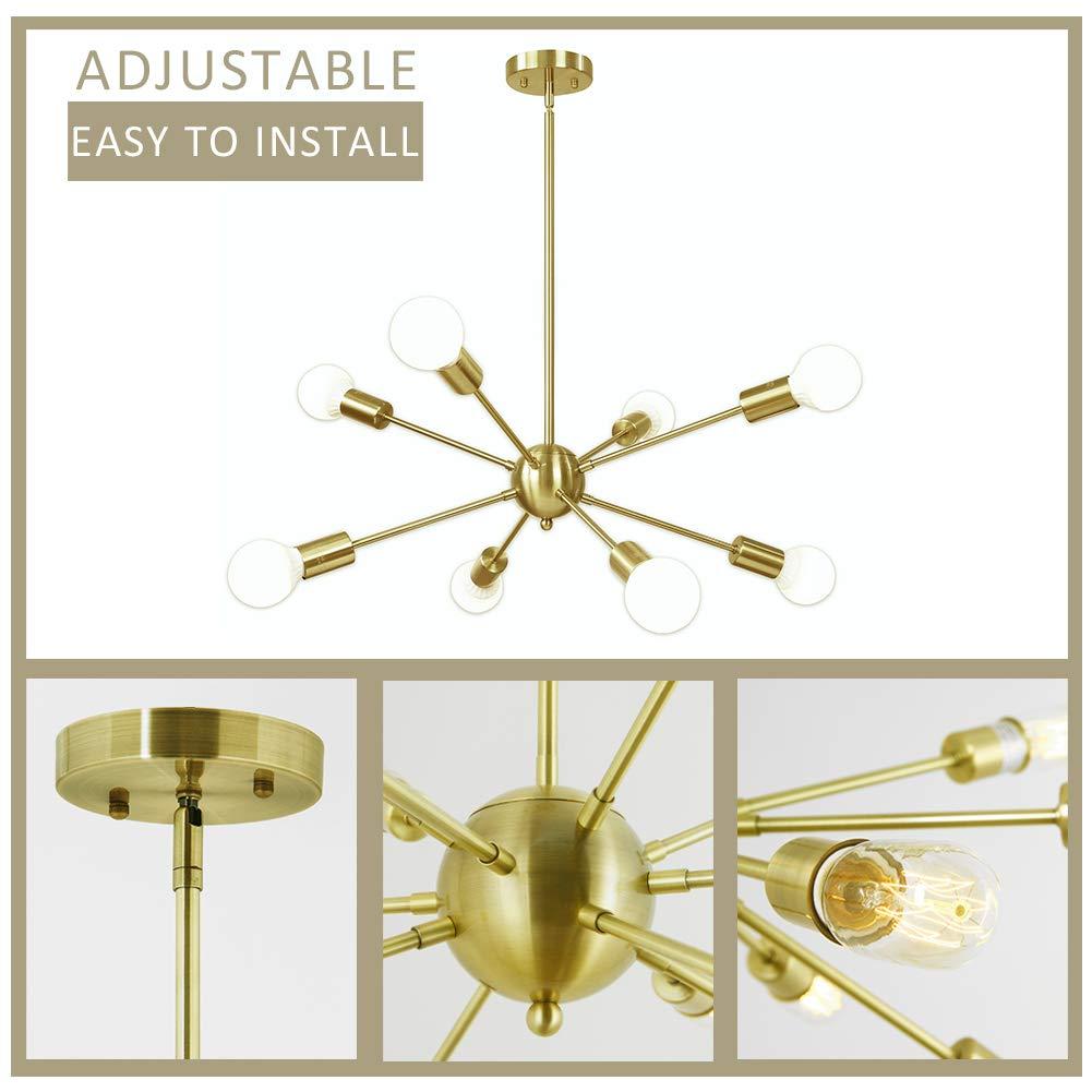 LAMPUNDIT Sputnik Chandelier 8 Light Brass Modern Pendant Lighting Gold Industrial Vintage Ceiling Light Fixture UL Listed