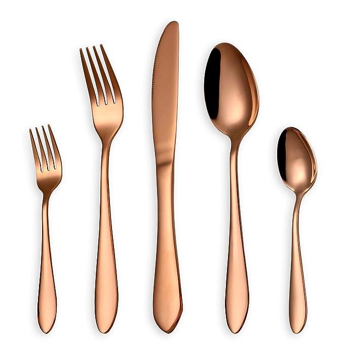 HOMQUEN Juego de cubiertos de oro rosa de 30 piezas, set de cubiertos de acero inoxidable 18/0, servicio para 6 personas, cubiertos de comedor: Amazon.es: ...