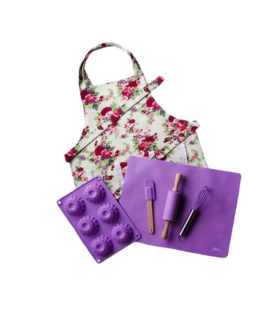 Purple Kids Baking Set with Matching Personalized Floral Apron by Dikor