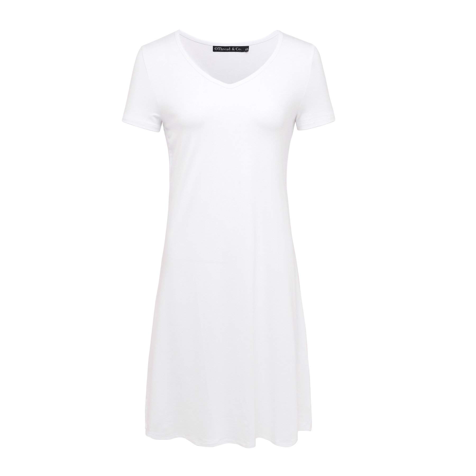 OThread & Co. Women's Plain Short Sleeves Nightgown Loose Fit Sleepwear Nightshirt Dress (X-Large, White)