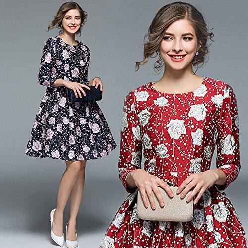 gules Siete Vestido Primavera Elegante Vestidos Jacquard Funda ZHUDJ 4w6qfY