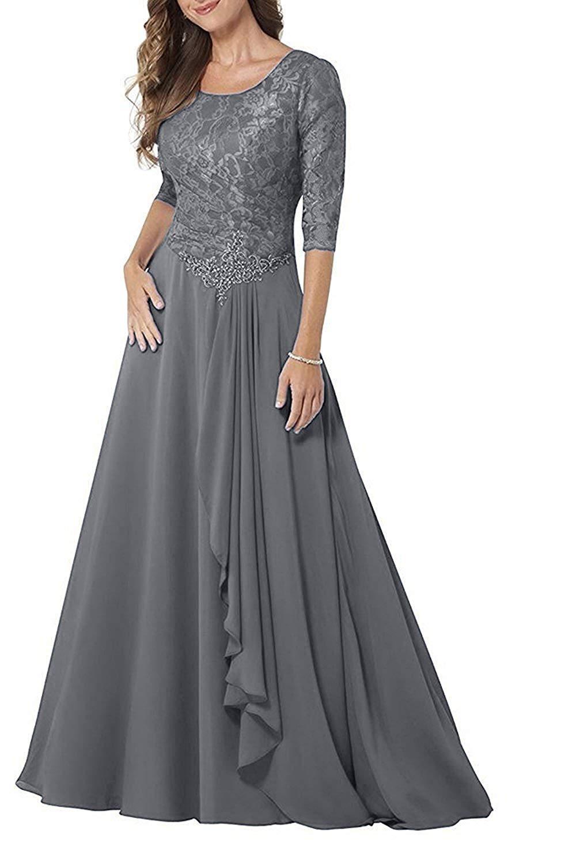 Woman A Line Evening Dress Three Quarter Sleeve Mother