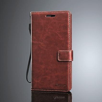 the best attitude 71263 6151e Annure Leather Flip Back Cover Case for Moto E5 Plus [Vintage Brown]