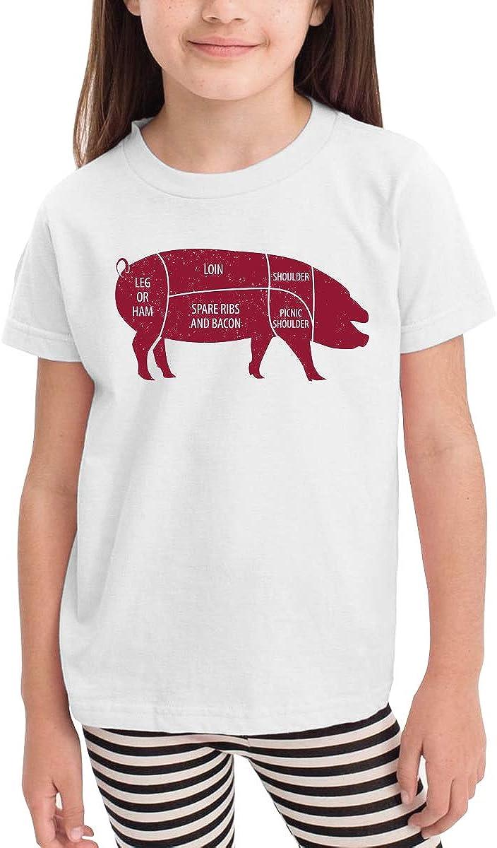 Onlybabycare Cut of Pork Butcher Diagram Toddler Boys Girls Short Sleeve T Shirt