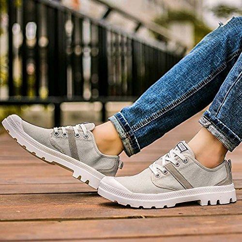 ZXCV Zapatos al aire libre Zapatos al aire libre del color puro del ocio de los zapatos de los hombres de los zapatos de lona Gris