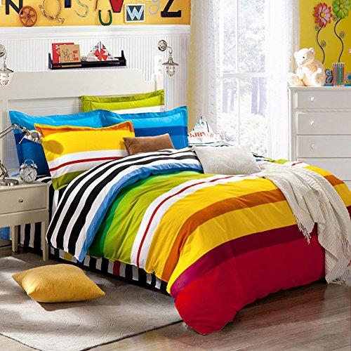 TOP SHOP Home FTSUCQ Rainbow Striped Linen Bed Sheets Quilt Covers Bed Mattress Bedding Four-PCS Sets,size-3 (Sheet Kidsline Top)