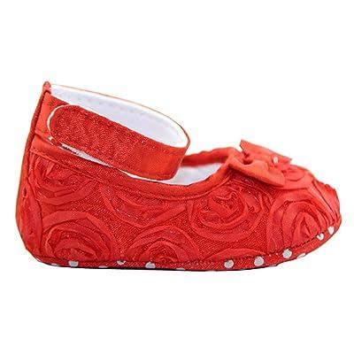 Cute Chaussures d'Enfant Style de Rose Comfortable Princess Floral de Rouge 11cm
