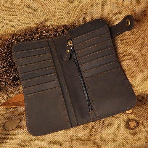 Le'aokuu Carteras de moda para hombre bolsa de mano monederos de piel genuina Organizadores de bolsos marrón oscuro Dragón