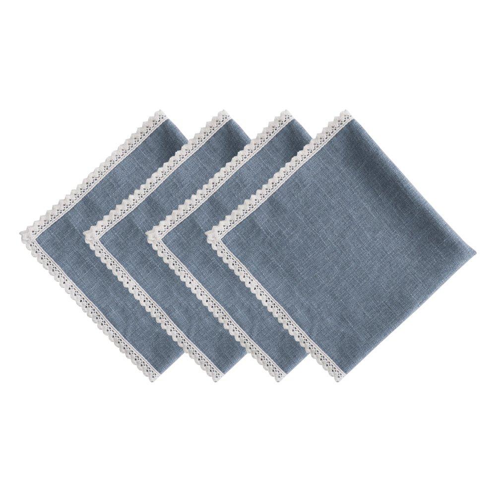 VU100 Servilletas para mesa de comedor 4 unidades, lino y algod/ón, con borde de encaje, rectangular natural, para San Valent/ín, boda, fiesta, color beige, gris y blanco