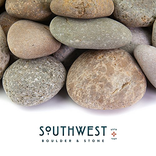 Fire Pit Essentials Mexican Beach Pebbles | 20 Pounds of Smooth Unpolished Stones | Hand-Picked, Premium Pebbles for Garden and Landscape Design | Buff, 1 Inch - 2 Inch