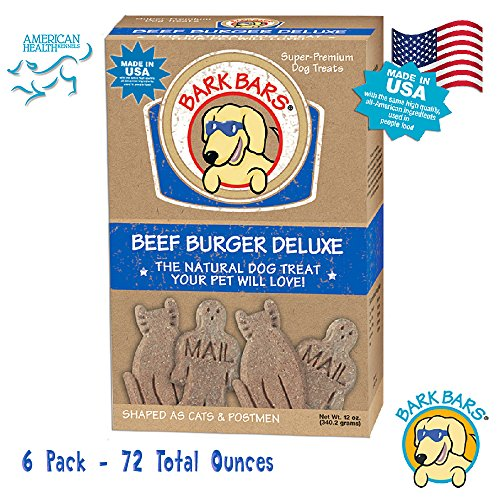 Bark Bars 6 Pack of 12 Ounce Boxes of Beef Burger Delight Flavor Pet Treats 72 Total Ounces ()