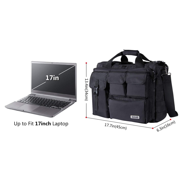 fb24f23ed532 Lifewit 17 inch Men's Military Laptop Messenger Bag Multifunction Tactical  Briefcase Computer Shoulder Handbags, Black
