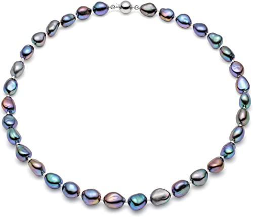 """10-11MM SILVER COLOR NATURAL TAHITIAN PEARL NECKLACE 18/"""" AAA"""