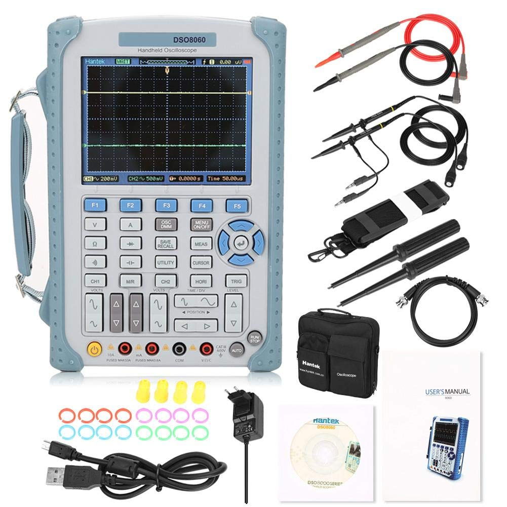 EU-Stecker Huakii Handheld DSO8060 Oszilloskop 5in1 60MHz Frequenzz/ähler//Spektrumanalyse AC100-240V Oszilloskop
