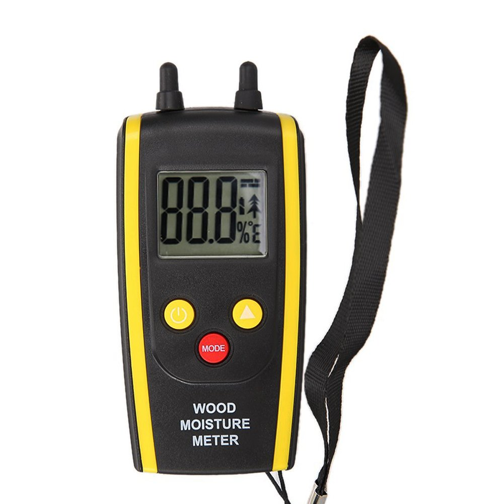 Alloet New Digital Accurate Moisture Temperature Meter Humidity Tester Detector Detection with LCD for Timber Wood Damp