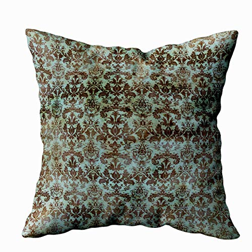 Capsceoll vintage turquoise blue brown damask pattern Decorative Throw Pillow Case 16X16Inch,Home Decoration Pillowcase Zippered Pillow Covers Cushion Cover with Words for Book Lover Worm Sofa Couch ()