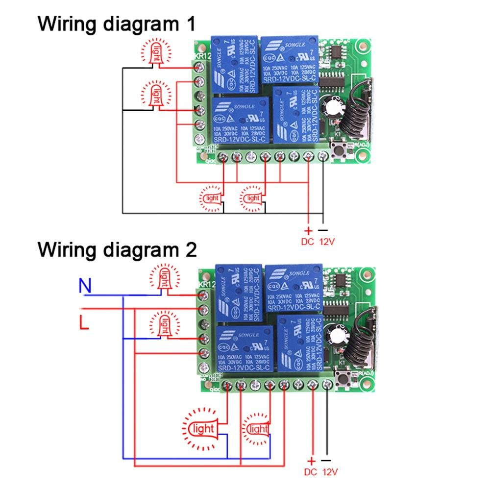 433mhz Universal Wireless Remote Control Switch Dc12v 4ch Relay Rf Circuit Diagram Receiver Module And 4 Button