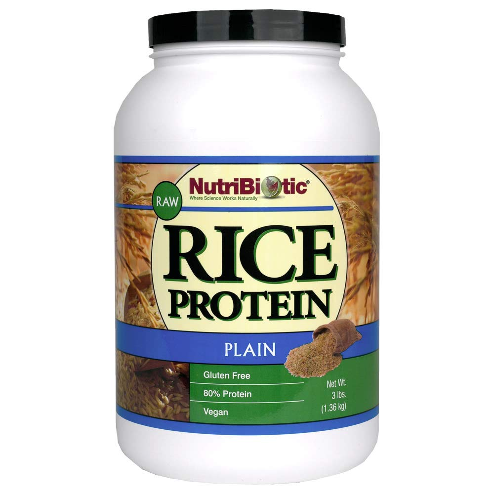 NutriBiotic Rice Protein Plain| 3 pound| Low Carbohydrate Vegan Protein Powder| Non-GMO| Vegan| Gluten Free| Grown and processed without chemicals | Keto Friendly: Beauty