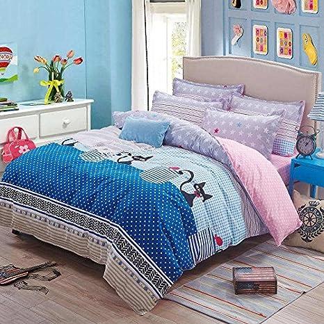 Casa secreto gatos lindos niños adultos algodón funda nórdica Set Multi Color: Amazon.es: Hogar