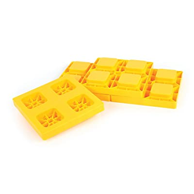 Camco Heavy Duty Leveling Blocks, Ideal For Leveling Single and Dual Wheels, Hydraulic Jacks, Tongue Jacks and Tandem Axles (4 pack) , Yellow - 44501: Automotive