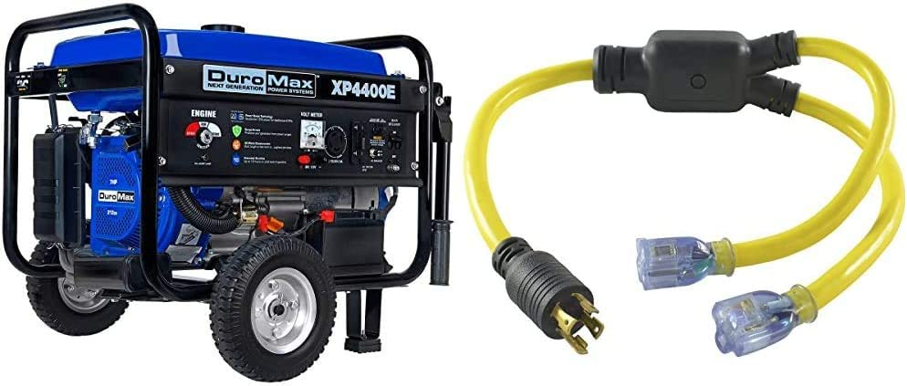 DuroMax XP4400E 4400 watt 7-Hp RV Grade Gas Generator with Electric Start & Conntek YL1430520S 30 4 Prong to 15/20 Amp Generator Y-Adapter