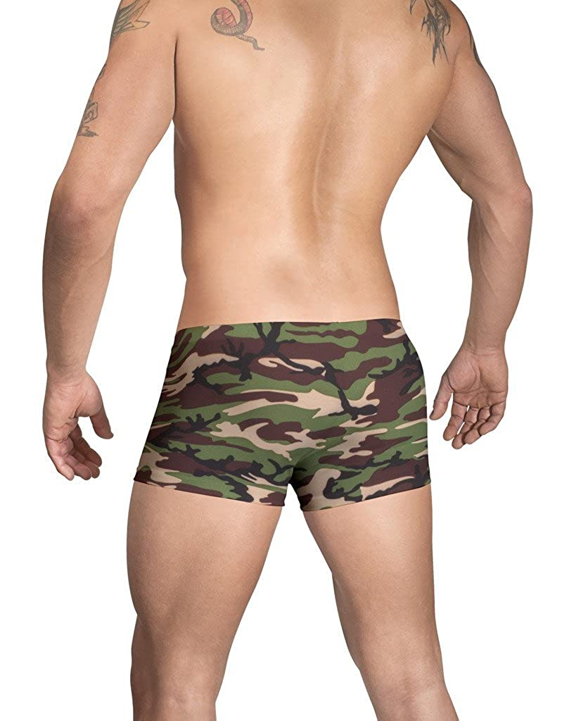 Vuthy Sim Brand Men/'s Swim SquareCut in Green and Brown Camouflage Print