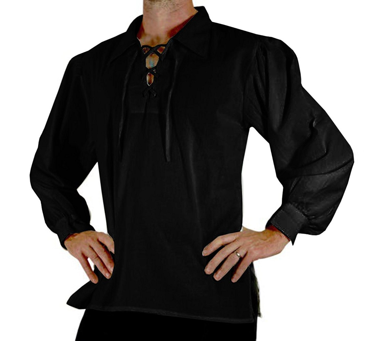 Bbalizko Mens Medieval Retro Cosplay Costume Lace up Stand Collar Shirt Tunic Tops (XX-Large, A-Black)