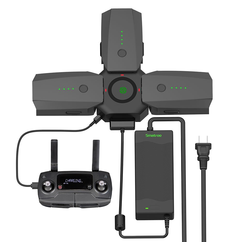 Smatree Mavic Pro Battery Charger for DJI Mavic Pro/Platinum, 80W Power Adapter 3 in 1 Rapid Battery Charger with Charger Hub