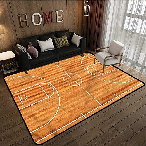 Large Area Rug Boys Room Basketball Court Play Rustic Home Decor 5'6