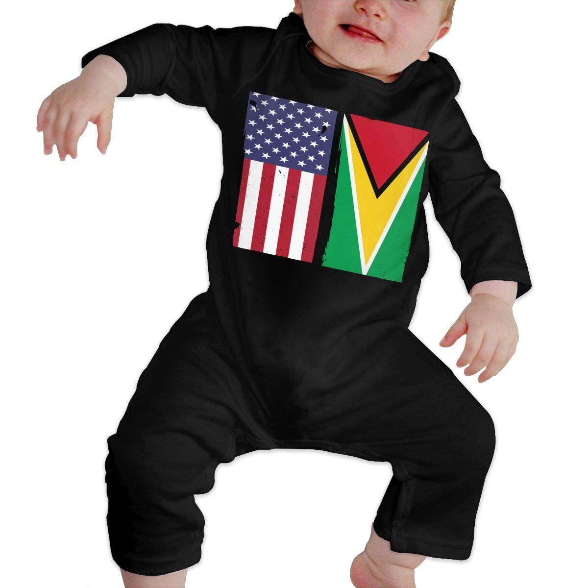 UGFGF-S3 Guyana Flag USA Flag Retro Toddler Baby Long Sleeve Romper Jumpsuit Infant Romper Jumpsuit