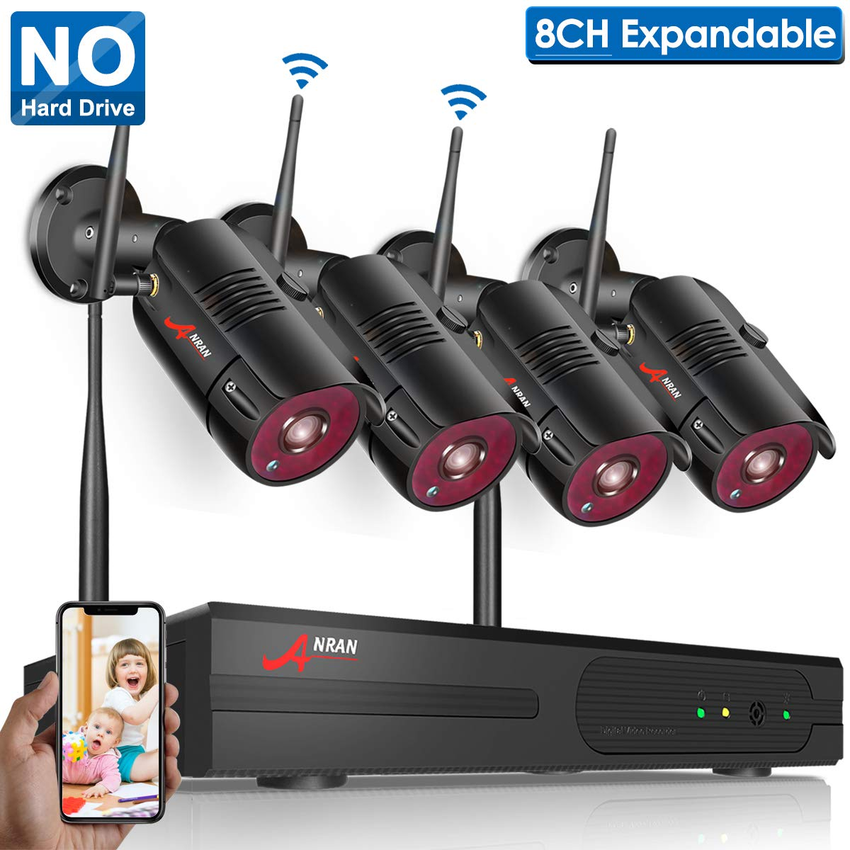 【2019 New】Wireless Surveillance Camera System,1080P NVR 8 Ch home camera system (NO Hard Drive) with ANRAN 4pcs 960P (1.3 Megapixel) Indoor/Outdoor Wireless IP Cameras, Easy Remote View, P2P, Free APP by ANRAN