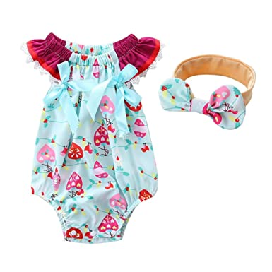 UK Infant Baby Girl Floral Romper Bodysuit Jumpsuit+Headband Clothes Outfit
