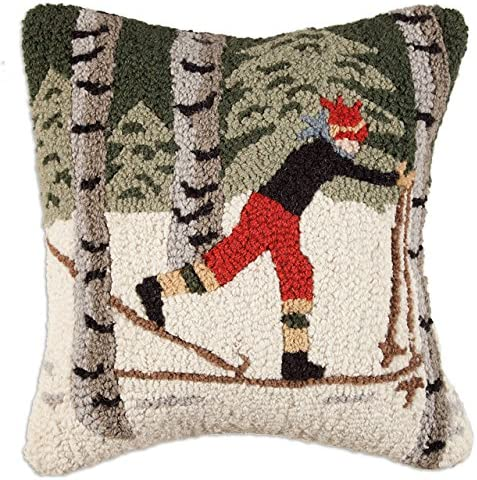 Chandler 4 Corners Artist-Designed Back Country Skier Hand-Hooked Wool Decorative Throw Pillow 18 x 18