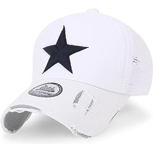 (イリリリー) ililily スターエンブロイダリー トラッカーハット コットン メッシュ帽 ベースボールキャップ (Medium, White Mesh)
