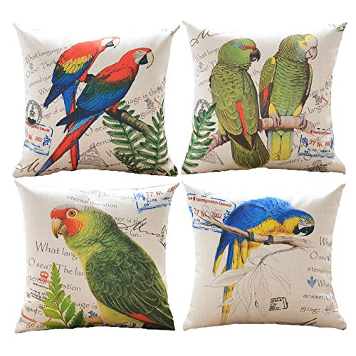 sykting Couch Pillow Cases Decorative Cushion Covers Set of 4 Pillow Shams for Sofa/Bench 18x18 Spring Birds Flowers -