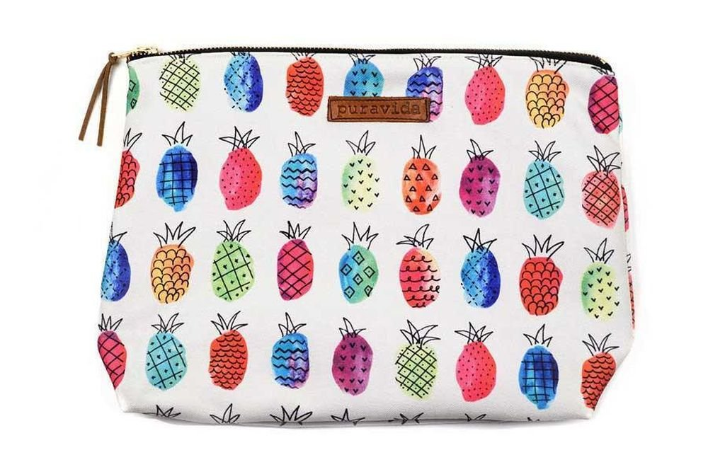 Pura Vida Beach Fruit Punch Clutch - Custom Contrast Zipper, 100% Cotton - 12'' W x 9.5'' H