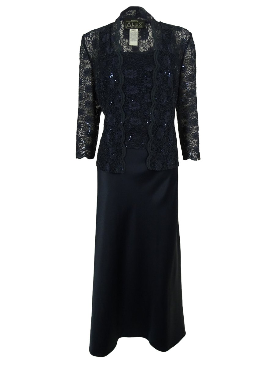 Alex Evenings Women's Sequined Lace Gown (8P, Navy)