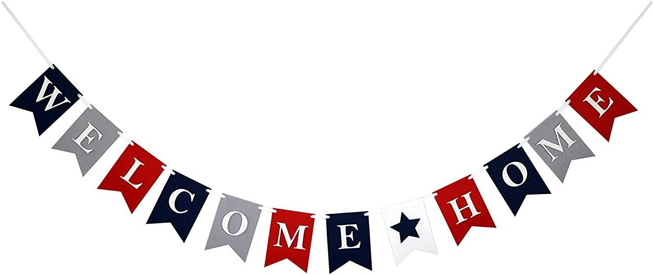 Welcome Home Banner Bunting Laser Cut Felt 54 inches wide - Red, White, & Blue