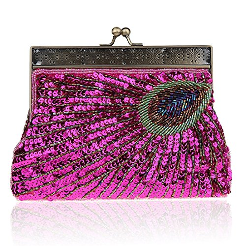 Designer Peacock Sequin bright rosy Handbag Fashion Women's Beaded Sequin Elegant Purse Clutch Antique Vintage red Evening Teal Unusual qt77w4