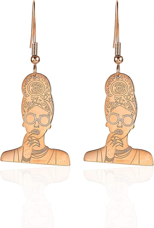 Daesar Pendientes de Mujer Cabeza de Mujer Pendiente Mujer Acero Inoxidable Pendiente Mujer Negro/Plata/Oro/Oro Rosa