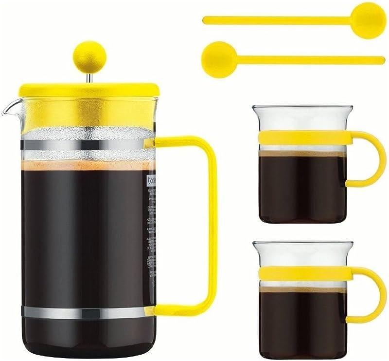 Bodum Bistro Set – Cafetera de émbolo de cristal de 1,0 l amarillo ...