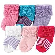 Luvable Friends Newborn Baby Socks 6 Pack, 0-3 Months, Purple