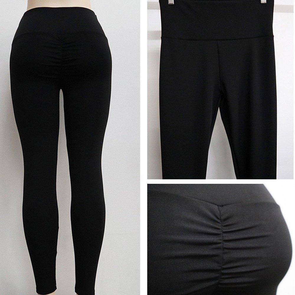 CROSS1946 Women's High Waist Back Ruched Legging Butt Lift Yoga Pants Hip Push up Workout Stretch Capris S by CROSS1946 (Image #9)