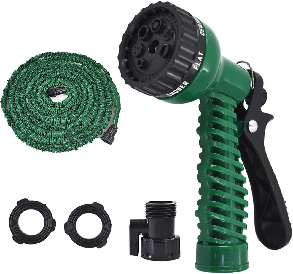 findmall Deluxe 25 50 75 100 Feet Expandable Flexible Garden Water Hose w/Spray Nozzle for Outdoor Lawn Car Watering Plants (Army Green,75FT)