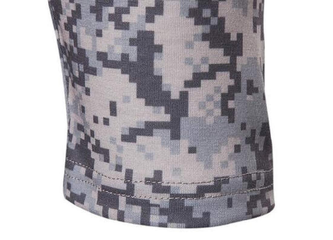 Jotebriyo Men Bodybuilding Outdoor Long Sleeve Patchwork Camo Print T-Shirt Tee Top